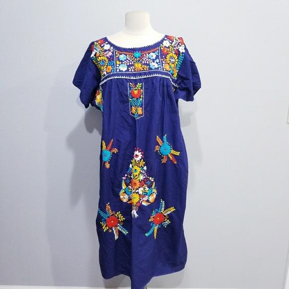 Vintage Dresses & Skirts - Vintage 70's 80's ethnic embroidered boho dress